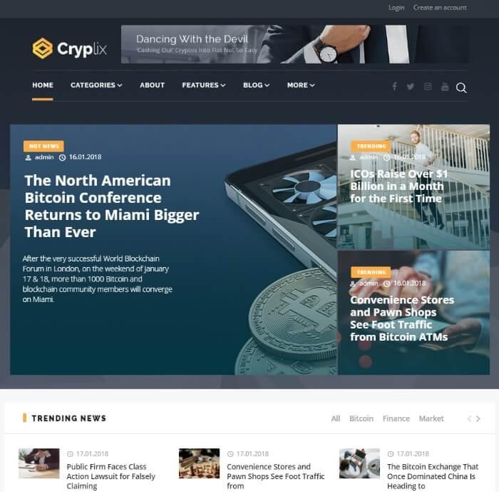 cryplix WordPress theme