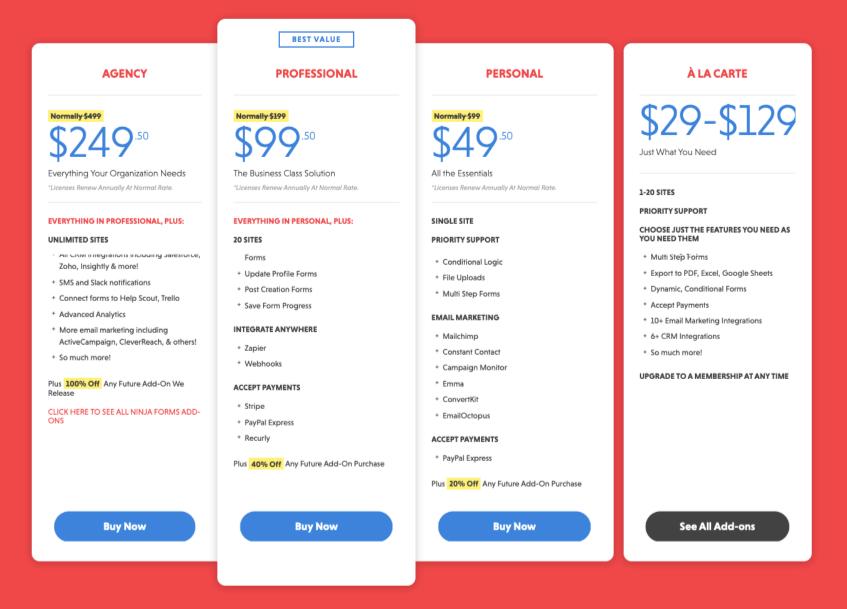 Ninja Forms Pricing